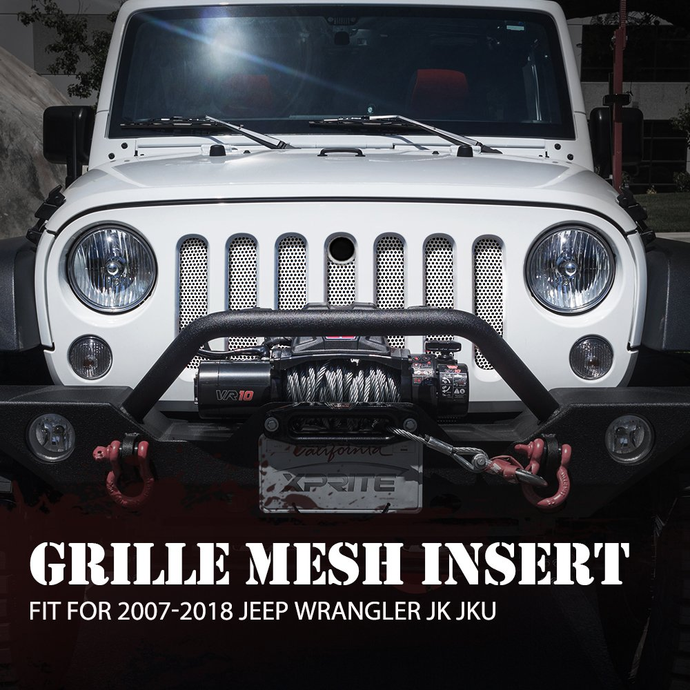 Xprite White Stainless Steel Mesh Insert Original Front Hood Matte Grill Grille Grid For 2007-2018 Jeep Wrangler JK JKU