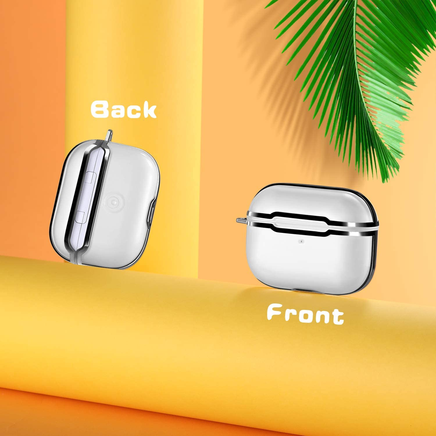 Upeak Compatible with Airpods Pro Carrying Case Translucent//Silver Frame Support Wireless Charging TPU Protective Cover Shockproof Case with Carabiner Glossy Surface Front LED Visible