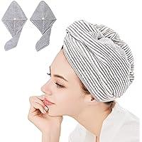 Paquete de 2 toallas de microfibra para el pelo para mujeres y niñas, ultra suaves, toallas de secado húmedas, turbante…