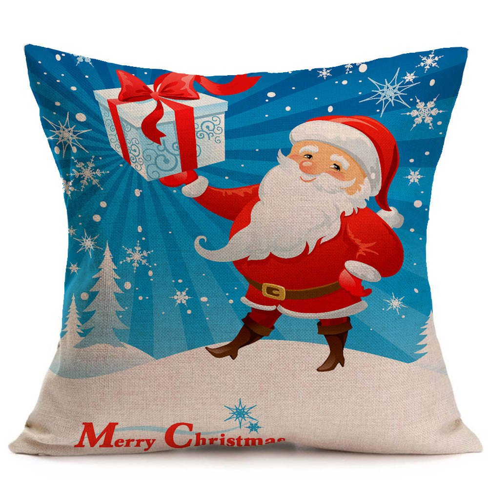 Quelife New Merry Christmas Linen Sofa Cushion Cover Home Decoration Merry Christmas Christmas Pillowcase Sale Prmotion