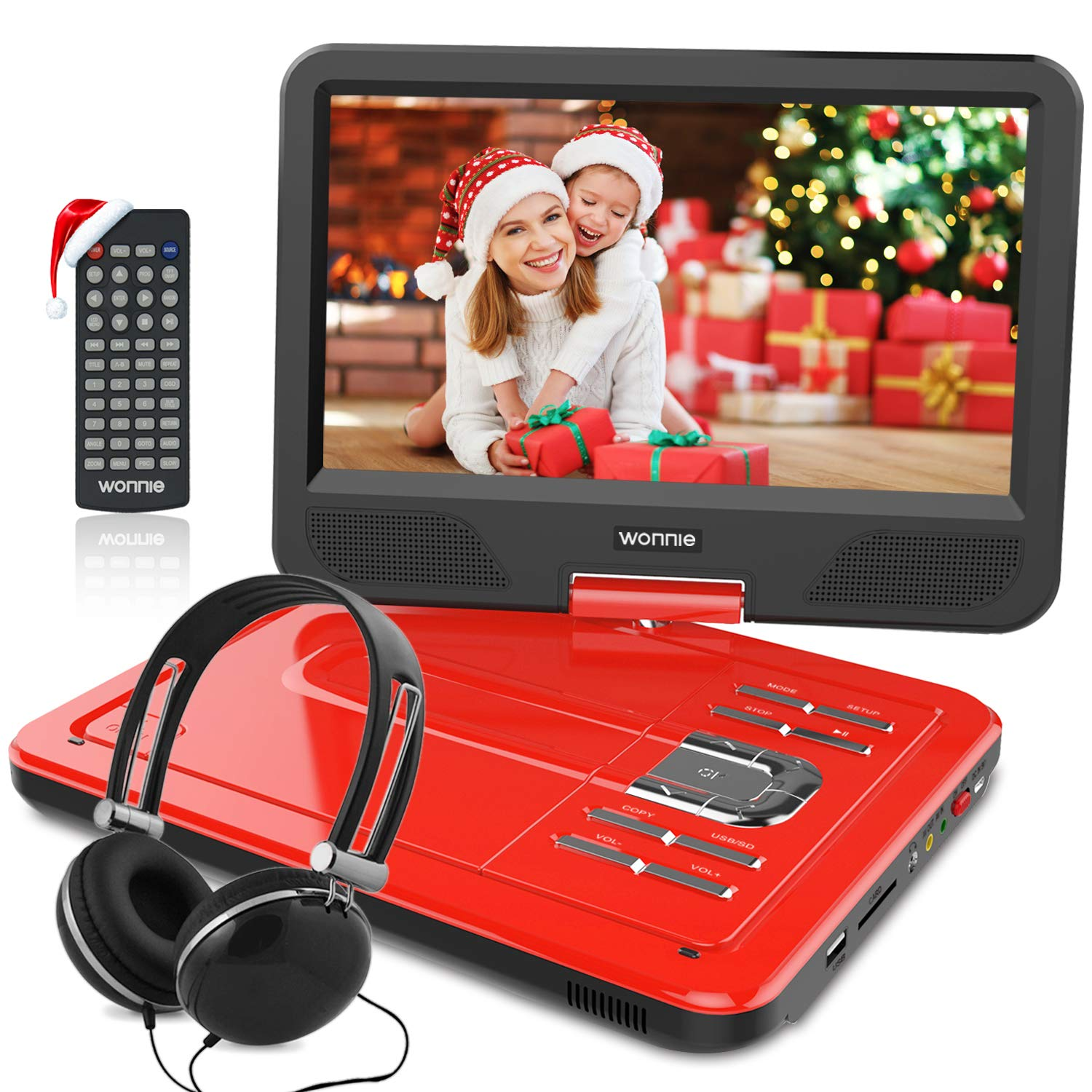 12.5 Inch Portable DVD Player with 4 Hour Rechargeable Battery,10.5'' Swivel Screen, USB/SD Slot (RED) by WONNIE