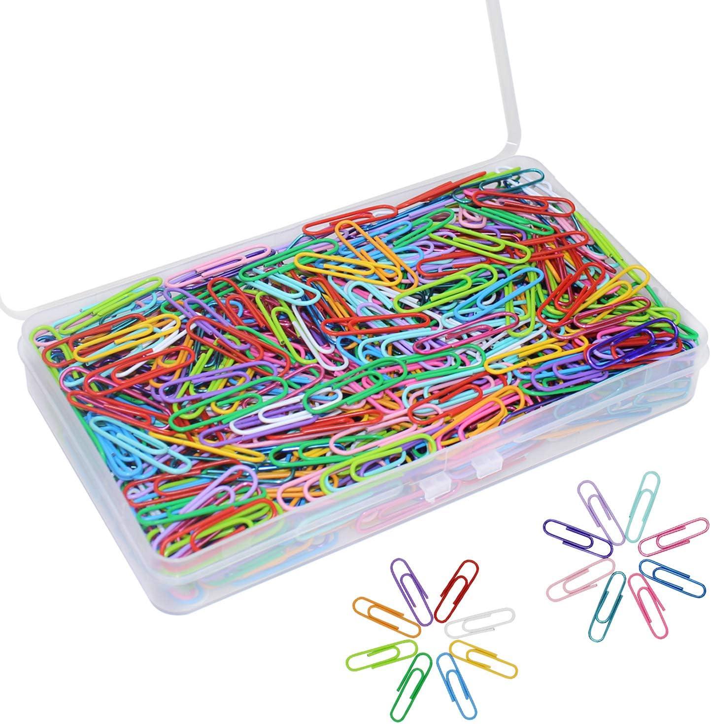 Graffette Colorate 500 Pezzi Clip Fermagli in Metallo Vinile Rivestito Paperclips multicolore Supporto per Ufficio Scuola Documenti 33mm