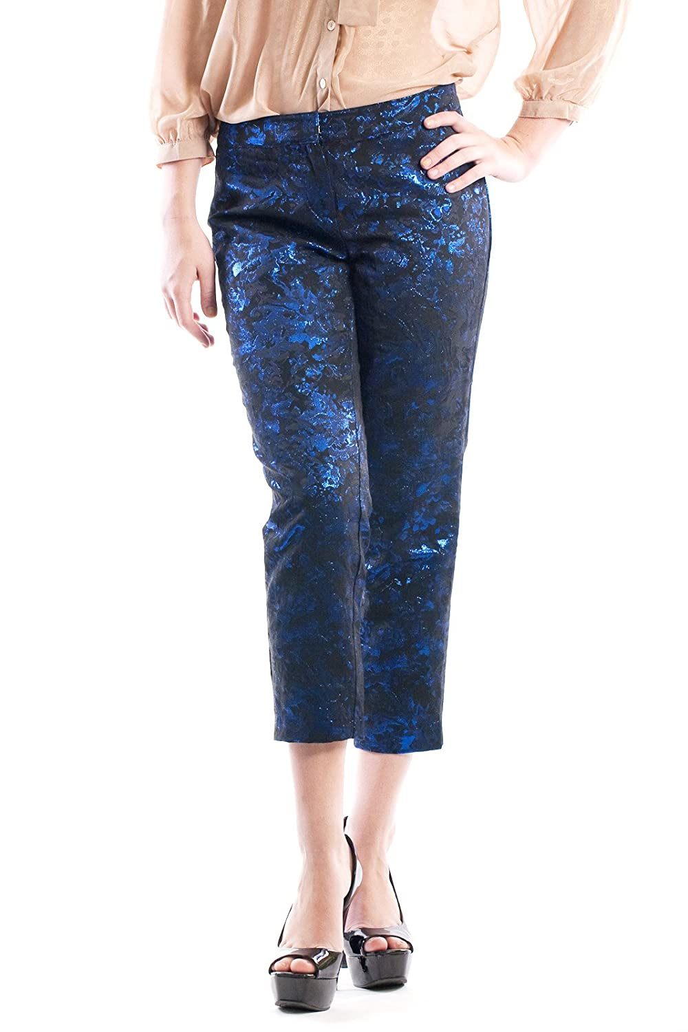 Dazly Women's Metallic Brocade Low Waisted Tapered Pants