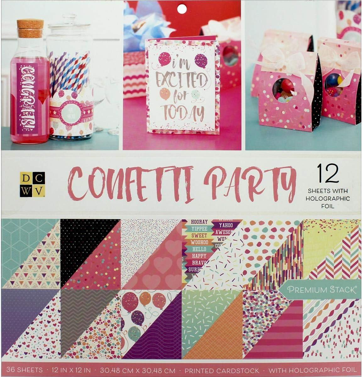 "American Crafts DCWV 12/""x12/"" Posh Pink Premium Cardstock Stack Holographic Foil"