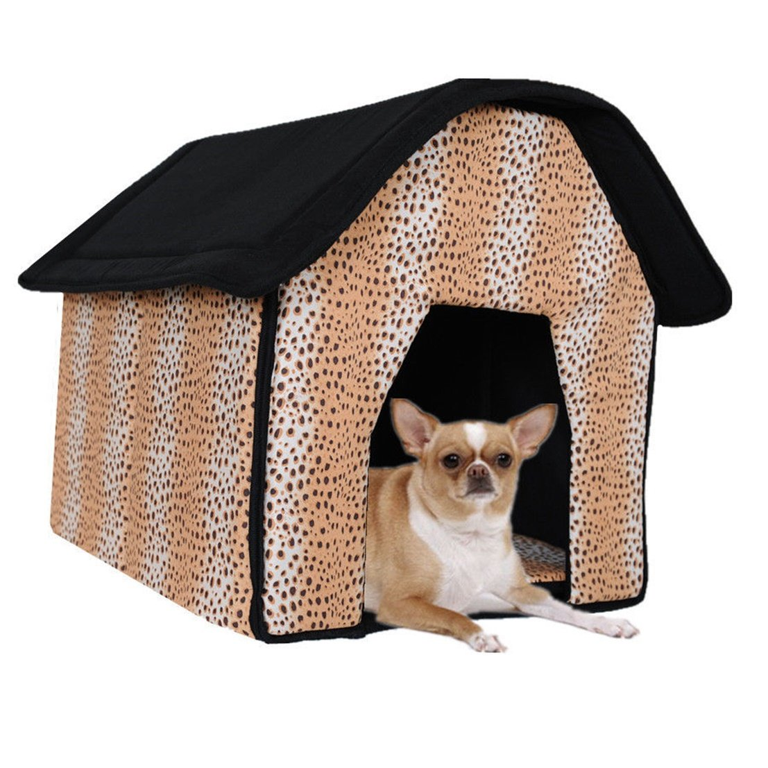 1 Set Ornate Popular Indoor Pet House Cat Furniture Soft and Warm Fabric Portable Bed Style Leopard Print
