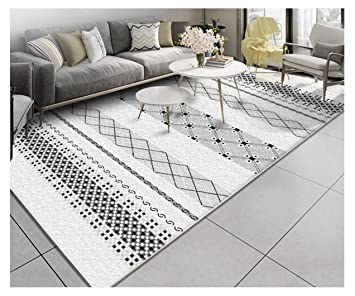 Damengxiang Noir Blanc Style Boheme Tapis Geometrie Salon