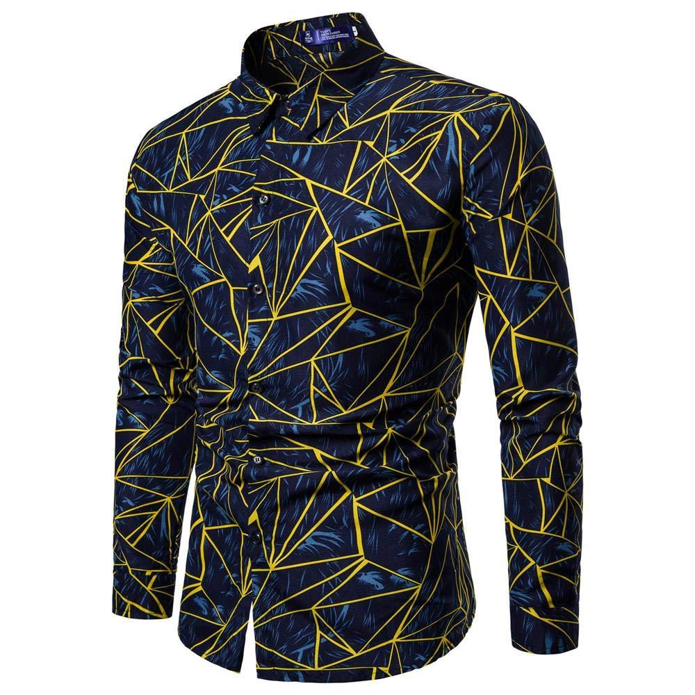 Herren-Hemd Mens Fashion Printed Bluse Lä ssige Langarm Slim Shirts Tops 724