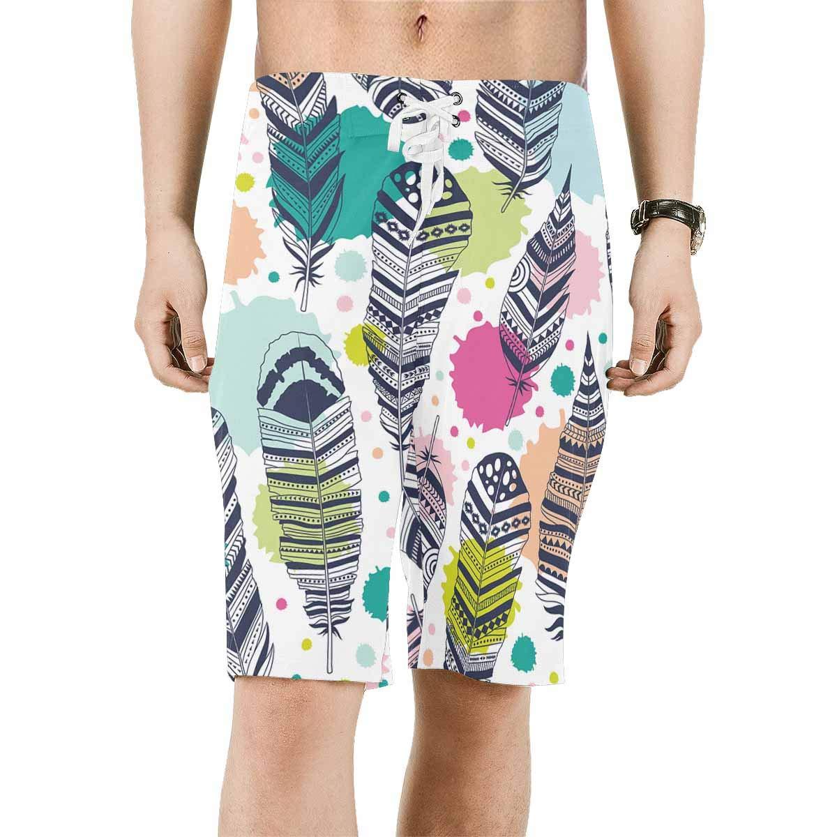 INTERESTPRINT Mens Printed Board Shorts Loose Fit Quick Dry No Mesh Lining