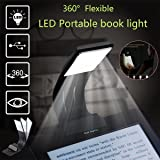 Ultrathin Book Light Flexible Reading Light for eBook Book Rechargeable Clip on LED Book Lamp for Reading in Bed Plane Train Dorm - 4 Brightness Mode