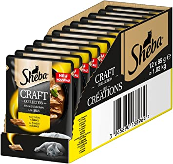 Sheba Saba Gato Forro húmedo Forro Craft Collection - Fina Parcela con Pollo en Salsa, 12 Bolsa (12 x 85 g): Amazon.es: Productos para mascotas