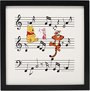 Open Road Brands Disney Winnie The Pooh, Piglet, and Tigger Music Notes Framed Wood Wall Decor - 12 Inch x 12 Inch Picture for Kids' Room, Play Room, Bedroom, or Classroom