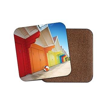 Posavasos colorido de casetas de playa - bola de mar vacaciones viaje Cool Divertido regalo # 8821: Amazon.es: Hogar