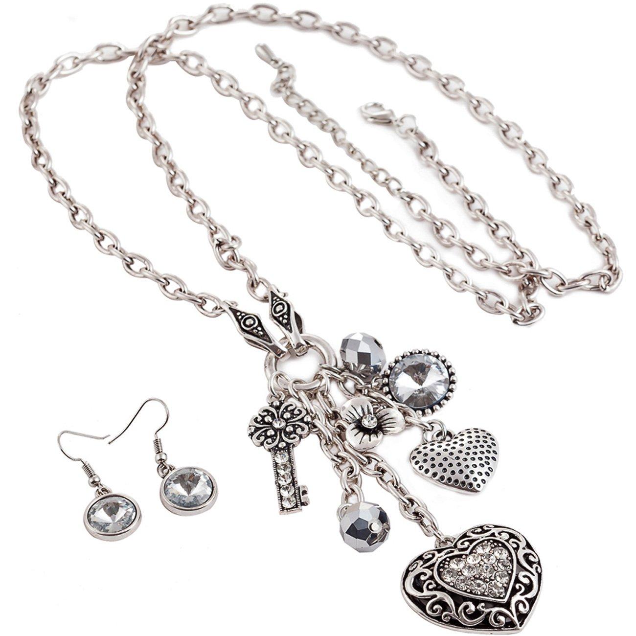 9e9266c1e86f Colgante de corazón de cristal para mujer Plata envejecida Color Largo De  Collar Y Pendientes Conjunto de joyas  Amazon.es  Joyería