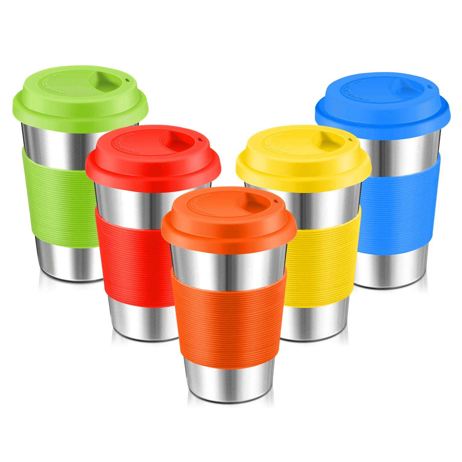 Stainless Steel Cups, Spnavy 16 OZ Stackable Pint Cup Tumbler with Silicone Lids Sleeves for Adults Kids Toddlers Metal Drinking Glasses for Pubs, Bars, Travel, Camping, Home and Outdoor Use, 5 Pack