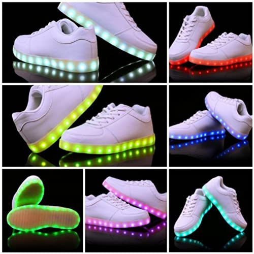 [Presente:pequeña toalla]Blanco EU 44, Zapatillas Zapatos Flash LED JUNGLEST® Chicas manera Blancos Lumi