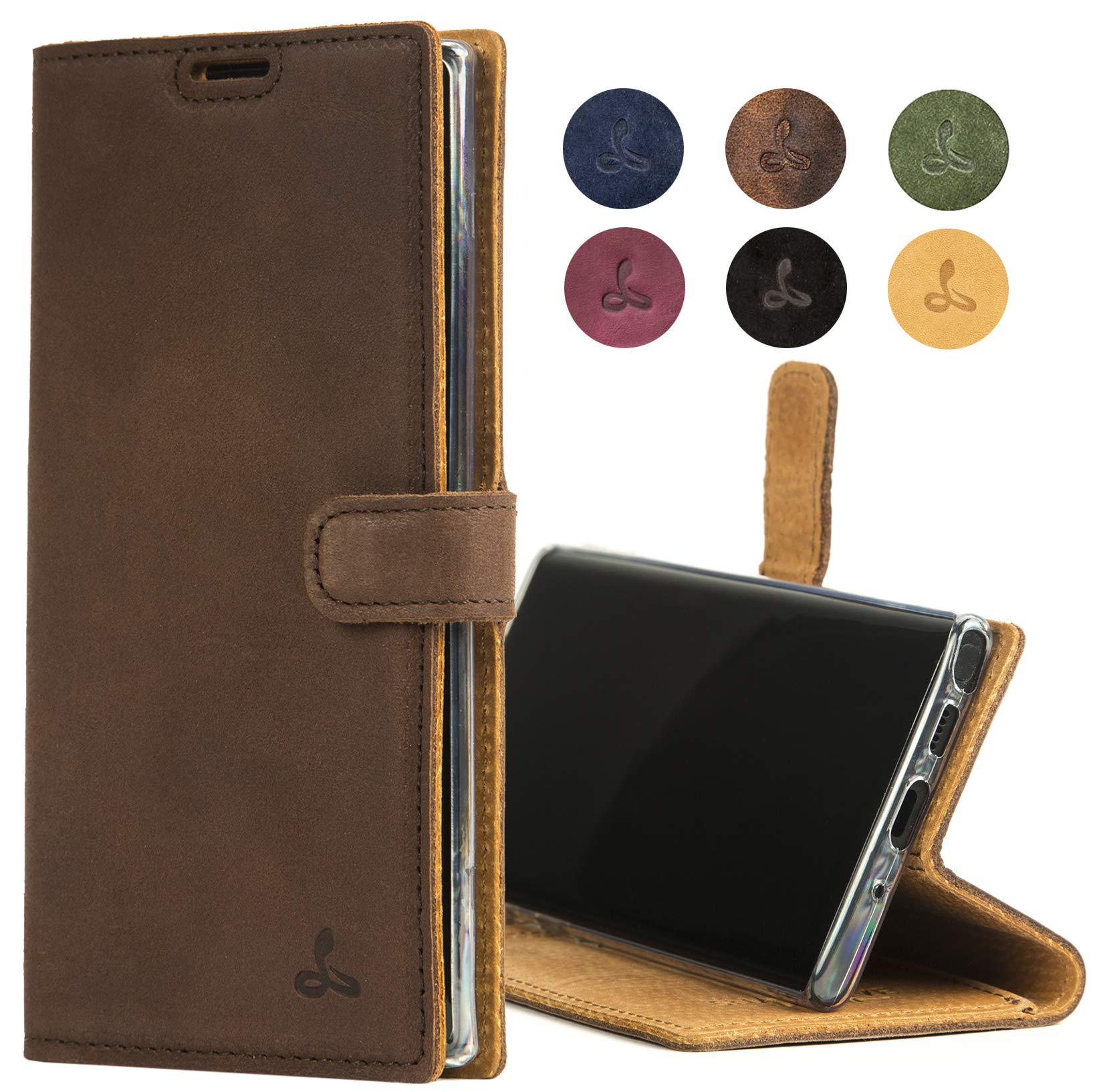 Samsung Galaxy Note 10 Plus Case, Genuine Leather Wallet Viewing Stand Card Slots, Flip Cover Gift Boxed Handmade in Europe Samsung Galaxy Note 10+ (Brown) by Snakehive