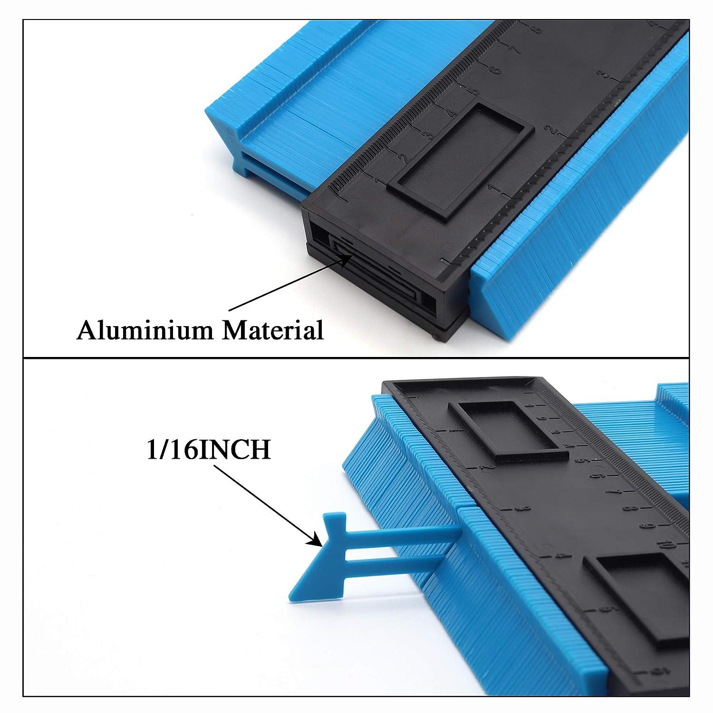 10 Inch Contour Gauge Profile Gauge Measure Ruler Contour Duplicator for Precise Measurement Tiling Laminate Wood Marking Tool Blue