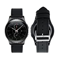 iBazal 20mm Cinturino Rilascio Rapido Pelle Cinturini Cuoio Bracciale per Huawei Watch 2/Samsung Gear S2 Classic/Gear Sport/ TICHWATCH 2/ Garmin Vivoactive 3 / Vivomove HR Smart Watch etc. - Classico Nero