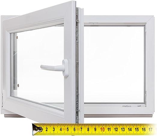 Kunststoff 2-fach-Verglasung Lagerware wei/ß DIN rechts BxH: 85 x 65 cm Kellerfenster Fenster