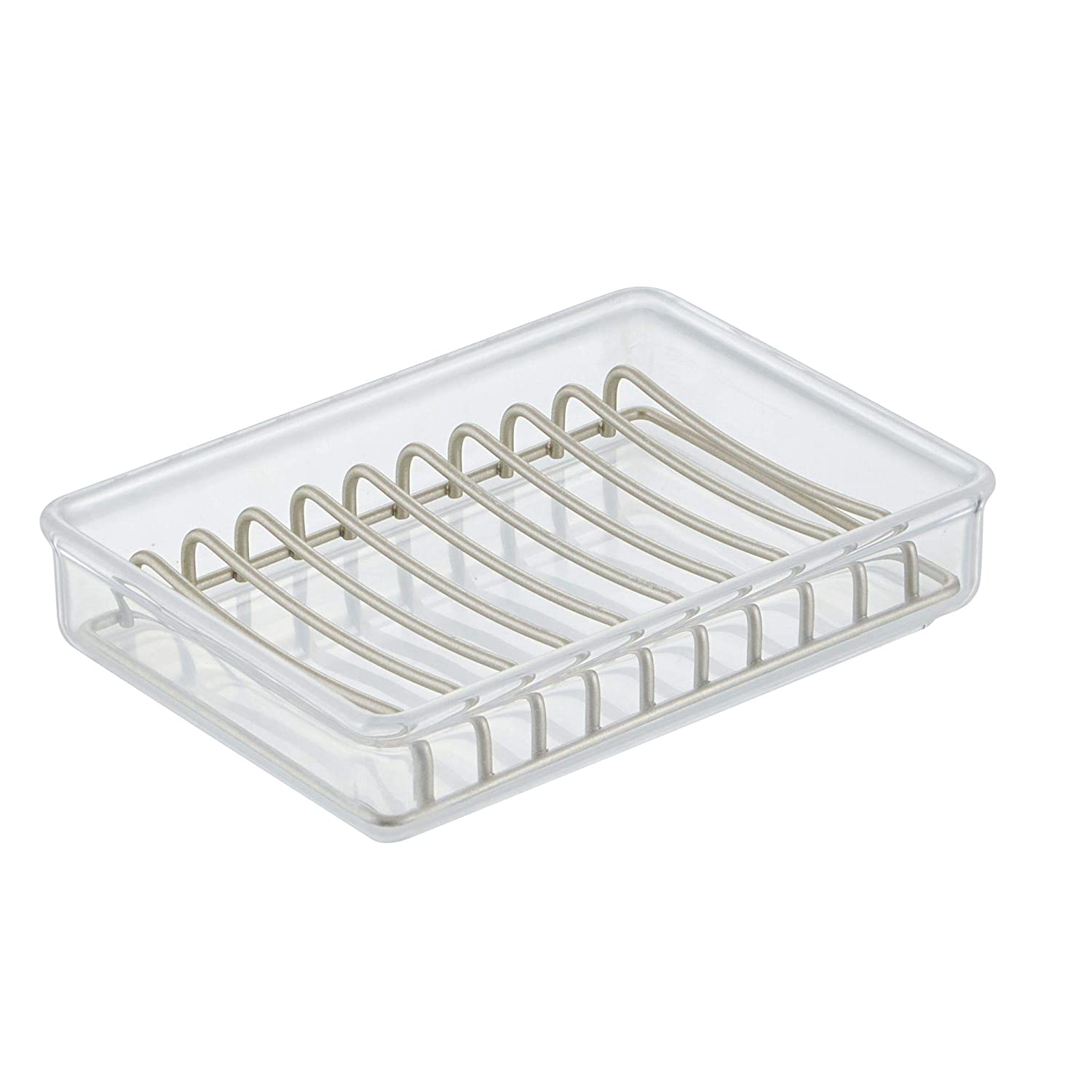 Kitchen Sink Clear//Satin MetroDecor 00482MDKEU Pack of 2 mDesign Soap Bar Dish with Tray for Bathroom Vanities