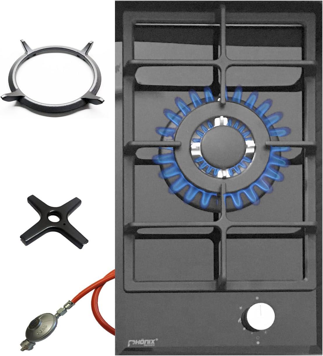Phönix 101GBT - Cocina de gas (cristal, 1 llama, Wok de hierro fundido, incluye cruz de cocina de gas