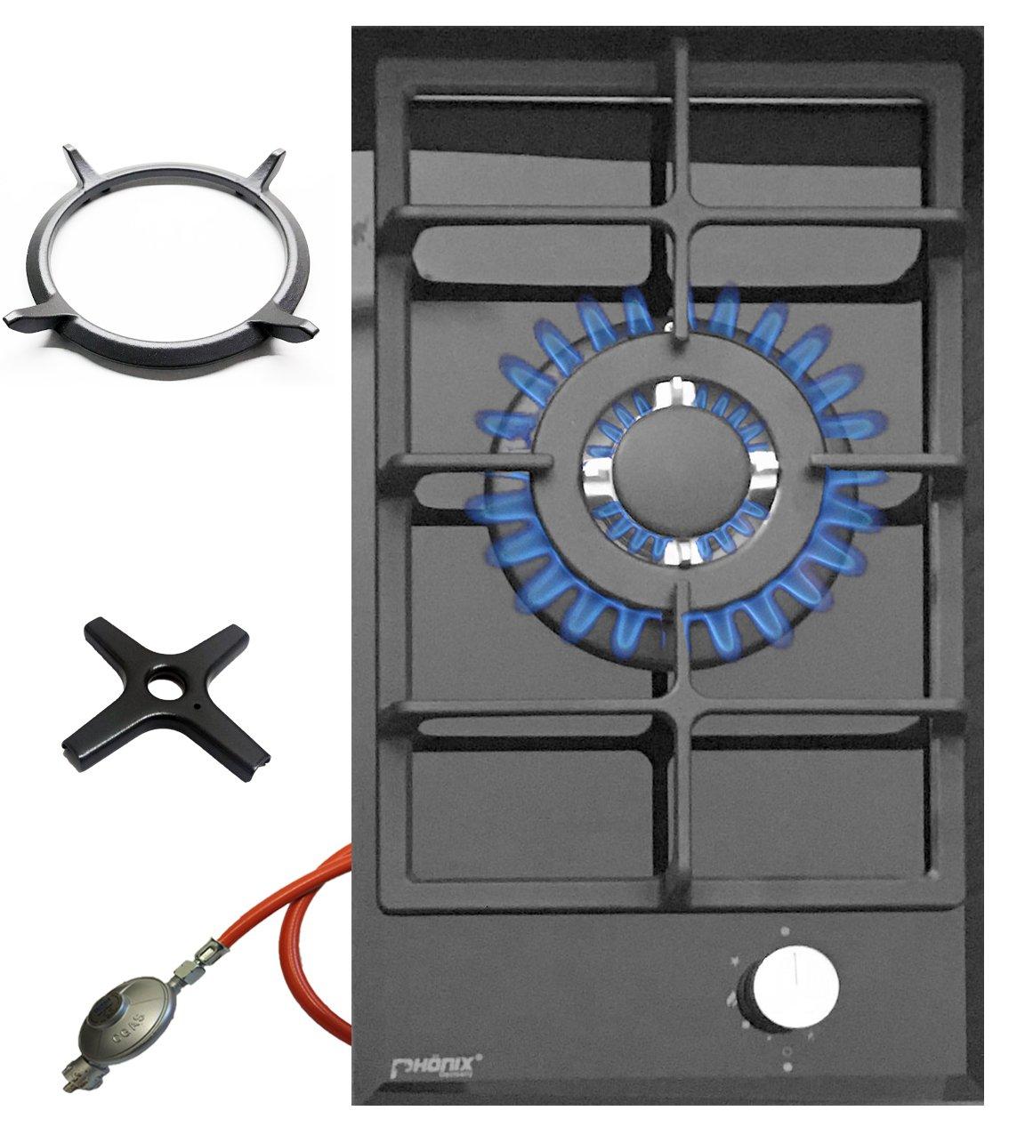 Phönix 101GBT, piano cottura a gas in vetro, 1fuoco Wok, adattatore Wok in ghisa e croce fornello a gas Phönix Germany