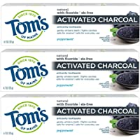 3-Pack Tom's of Maine Activated Charcoal Toothpaste, Natural Toothpaste, Peppermint with Fluoride (4.7 oz)