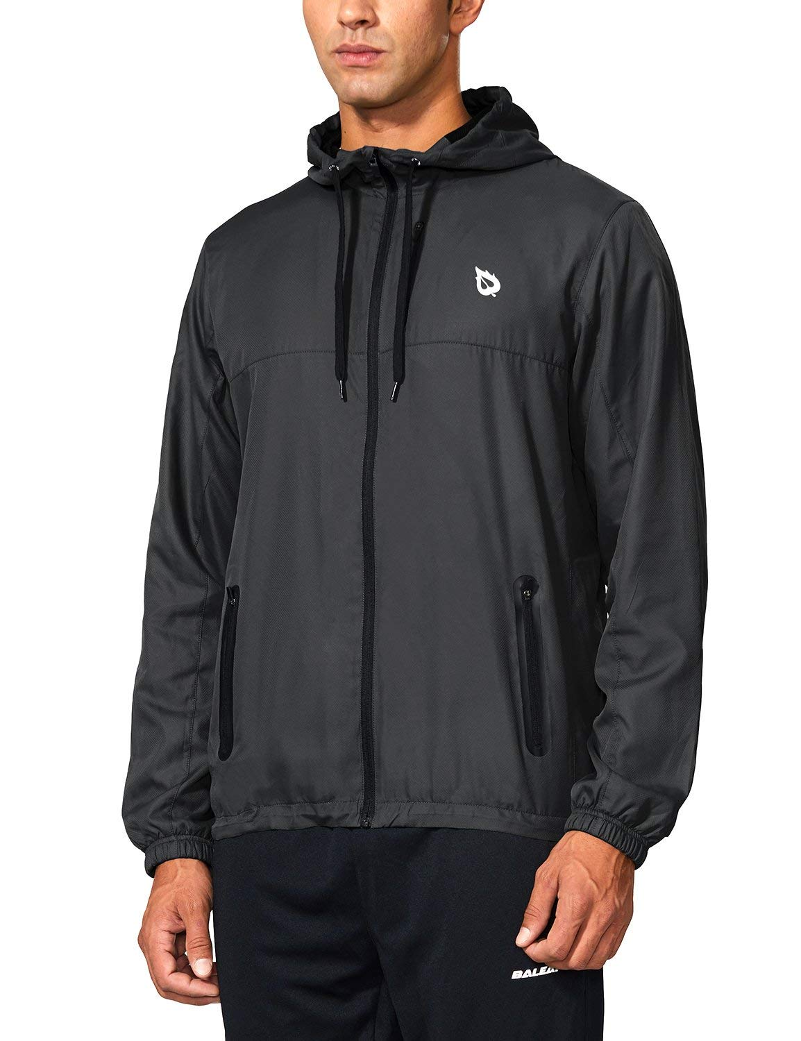 BALEAF Men's Running Woven Jackets Lightweight Track Windbreaker Zip Pockets Black Size M by BALEAF