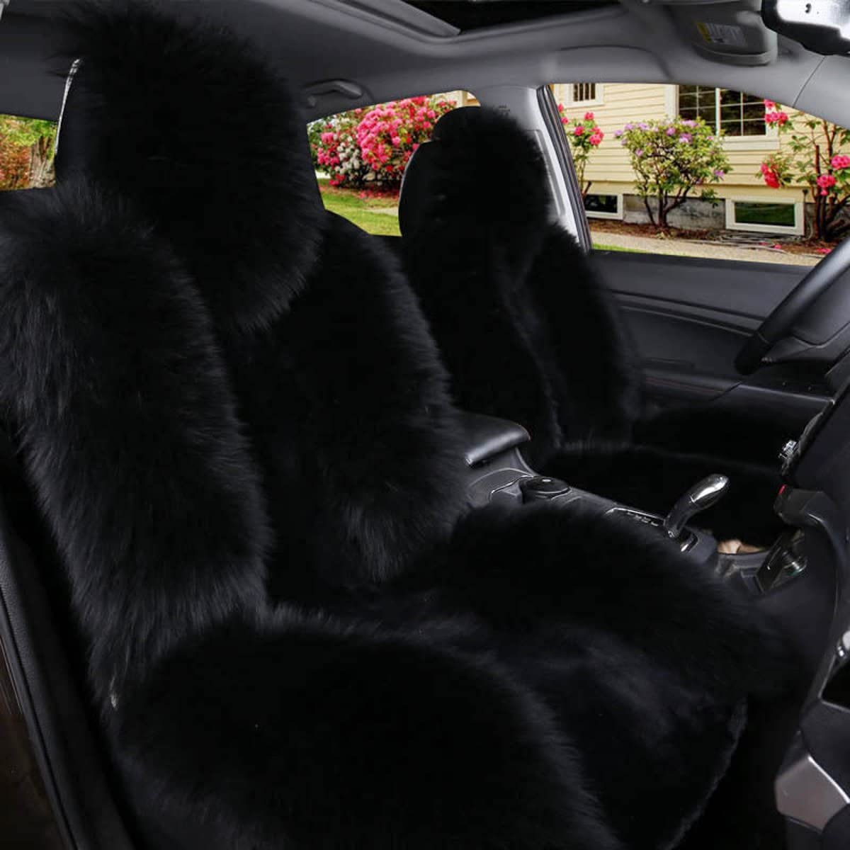 Amazon Com Imqoq A Pair Genuine Sheepskin Fur Car 2 Front Seat Covers Set Winter Warm Universal Black Automotive