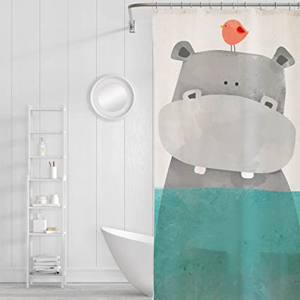 Charmant Orange Design Cute Hippo Bird Shower Curtain For Kids Baby Bathroom Decor,  Nautical Water Ocean