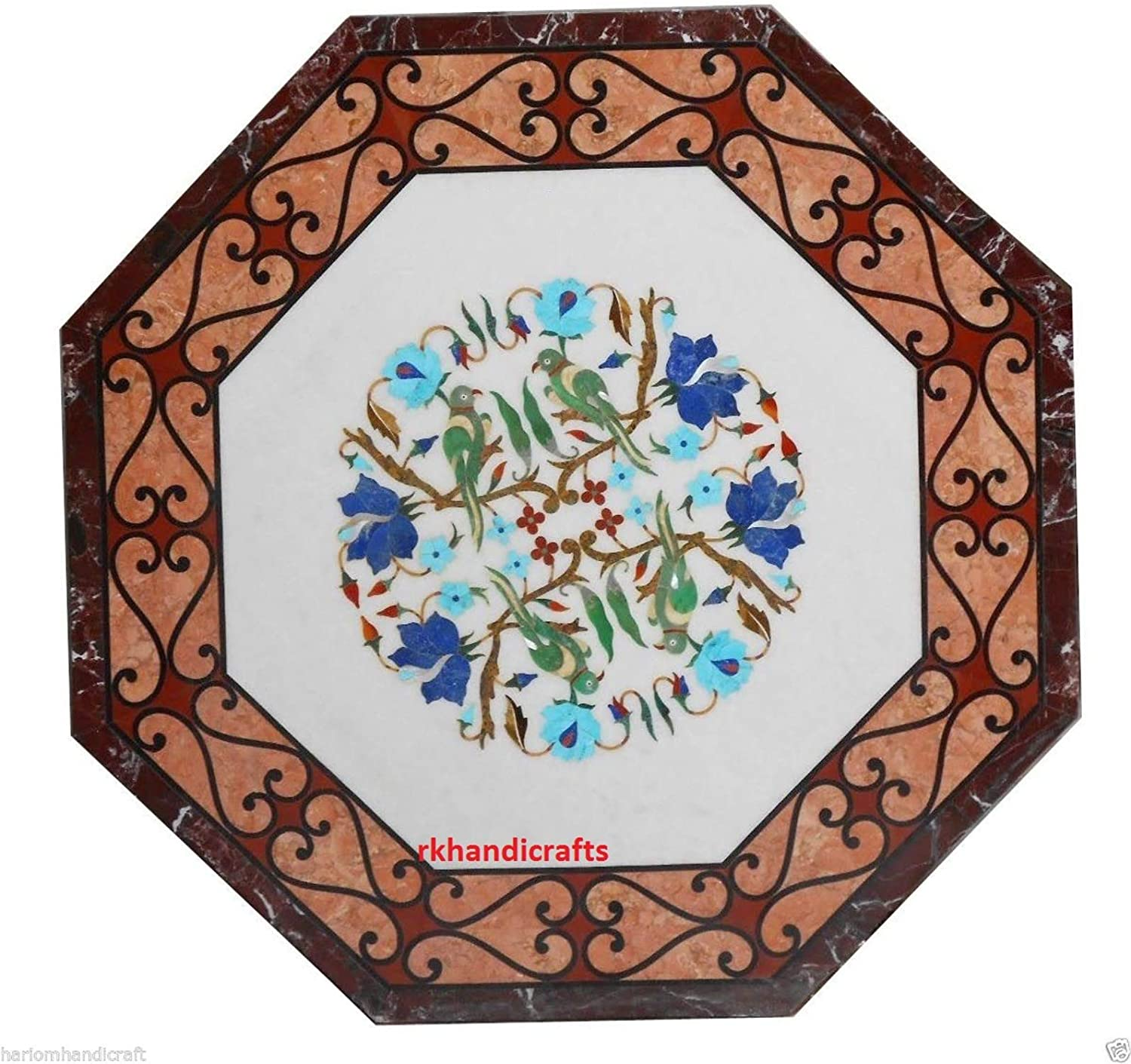 30 Inches Octagon White Marble Patio Dining Table Top Made Beautiful Parrot Design with Multi Colors Stones, Handmade in India 71O-fsJ4dHLSL1500_