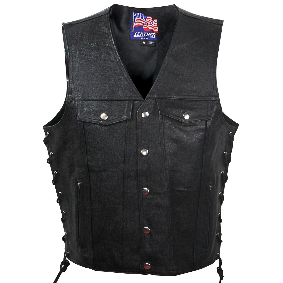 USA Leather VC207 Gunner Mens Leather Vest with Inside Gun Pocket - Large
