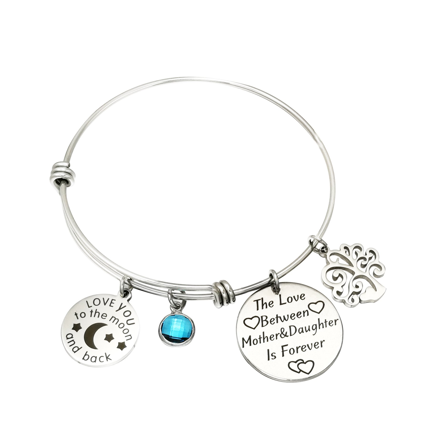 PORPI-JOJO I Love You to The Moon and Back Mom Bangle Bracelets Mothers Day Gifts The Love Between Mother&Daughter is Forever Stainless Steel 4 Style (The Love Between Mother&Daughter is Forever)