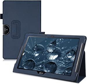 kwmobile Case Compatible with Acer Iconia One 10 (B3-A40) - Slim PU Leather Tablet Cover with Stand Feature - Dark Blue