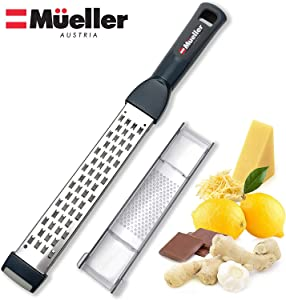 Mueller Ultra Bi-Directional Citrus Zester & Cheese Grater — Parmesan Cheese Lemon, Ginger, Garlic, Nutmeg, Chocolate, Vegetables, Fruits – 18/10 Razor-Sharp Stainless Steel Blade Wide Dishwasher Safe