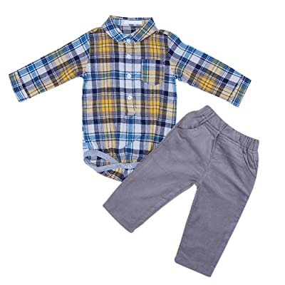 2pcs Autumn Baby Boys Long Sleeve Plaid Romper Shirt+ Corduroy Pants(80cm)
