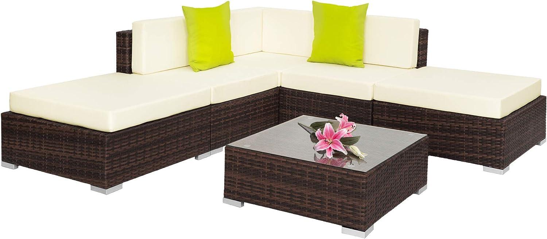 TecTake Aluminio POLIRATÁN Conjunto TRESILLO Muebles DE RATÁN Conjunto para JARDÍN Incl. Fijaciones (MARRÓN Mixto | No. 401812)