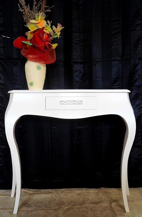 Consolle Bianca Laccata Moderna.Tavolo Consolle Ingresso Con 1 Cassetto Legno Bianco Laccato