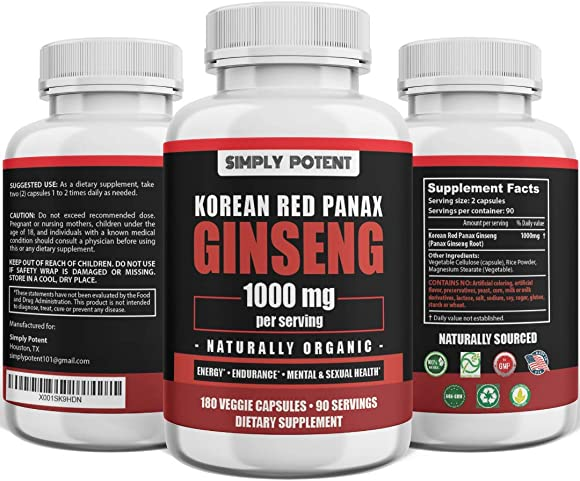 Korean Ginseng 1000mg 180 Red Ginseng Capsule, Vegan Organic Ginseng Extract Supplement, Pure Red Panax Ginseng Powder Extract w 4-6 Ginsenoside Supports Energy, Stamina, Mental Overall Health