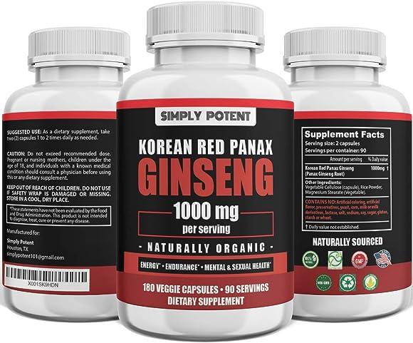 Korean Red Panax Ginseng 1500 mg – 120 Vegan Capsules Minimum 5 Ginsenosides