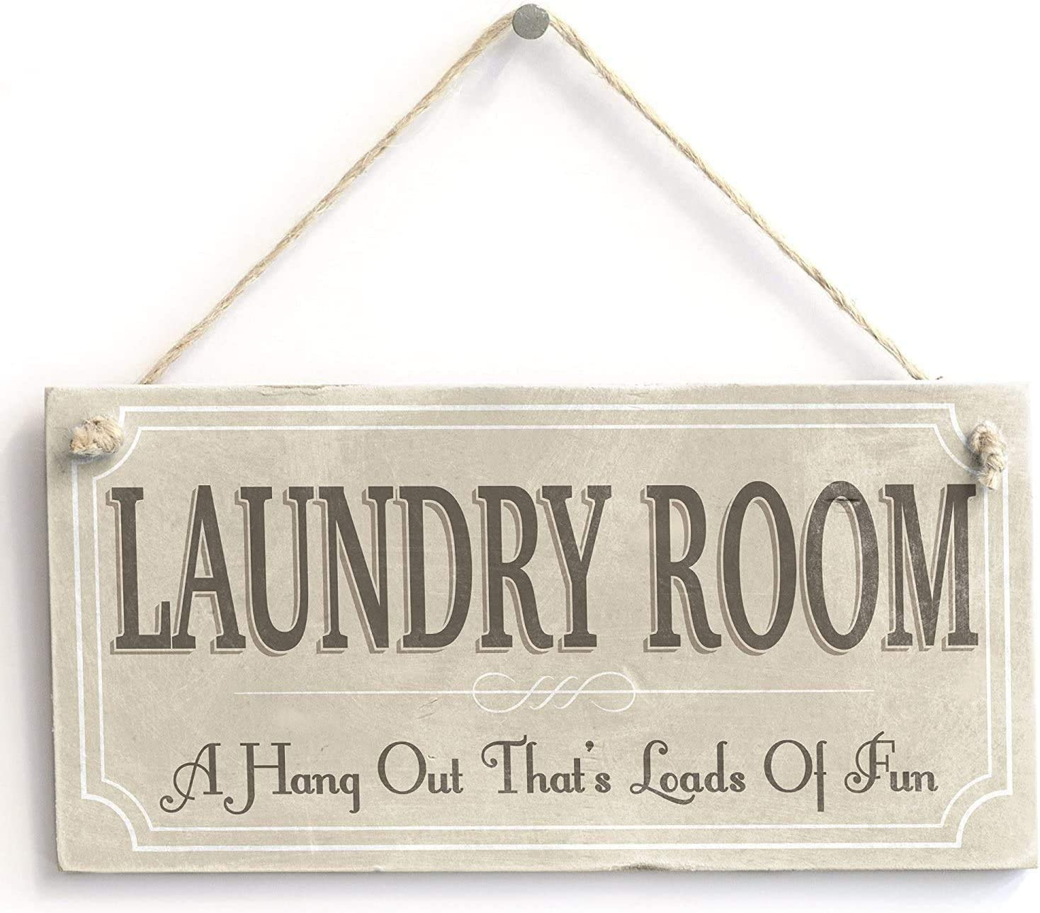 AJHERO Funny Retro Wall Décor Hanging Wall Sign for Home,A Hangout Thats Loads of Fun,5X10 Laundry Room Wall Decor Sign Wall Art Plaque Sign-11