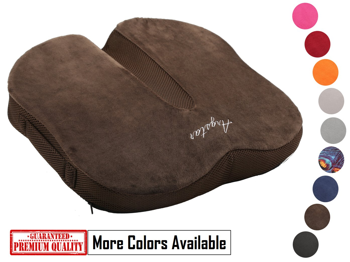 Argstar Coccyx Orthopedic Memory Foam Seat Cushion 3D Breathable for Back Pain Coffee