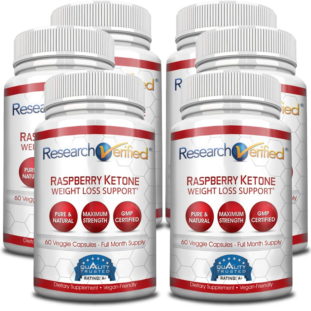Research Verified Raspberry Ketones -100% Pure Natural Raspberry Ketones -1000mg/day for Fast and Easy Weight Loss - 365 Day 100% Money Back Guarantee - 360 Capsules (Six Month Supply)