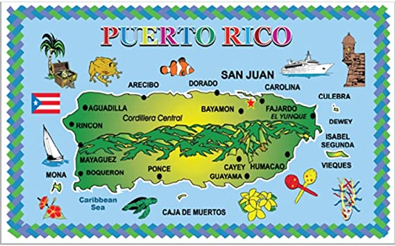 Rockin Gear Placemats Puerto Rico Set Of 4 Laminated Blue Ocean Map Souvenir Placemats 11 5 X 17 Puerto Rico