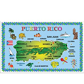 Rockin Gear Placemats Puerto RICO Set of 4 Laminated Blue Ocean Map  Souvenir Placemats 11.5\
