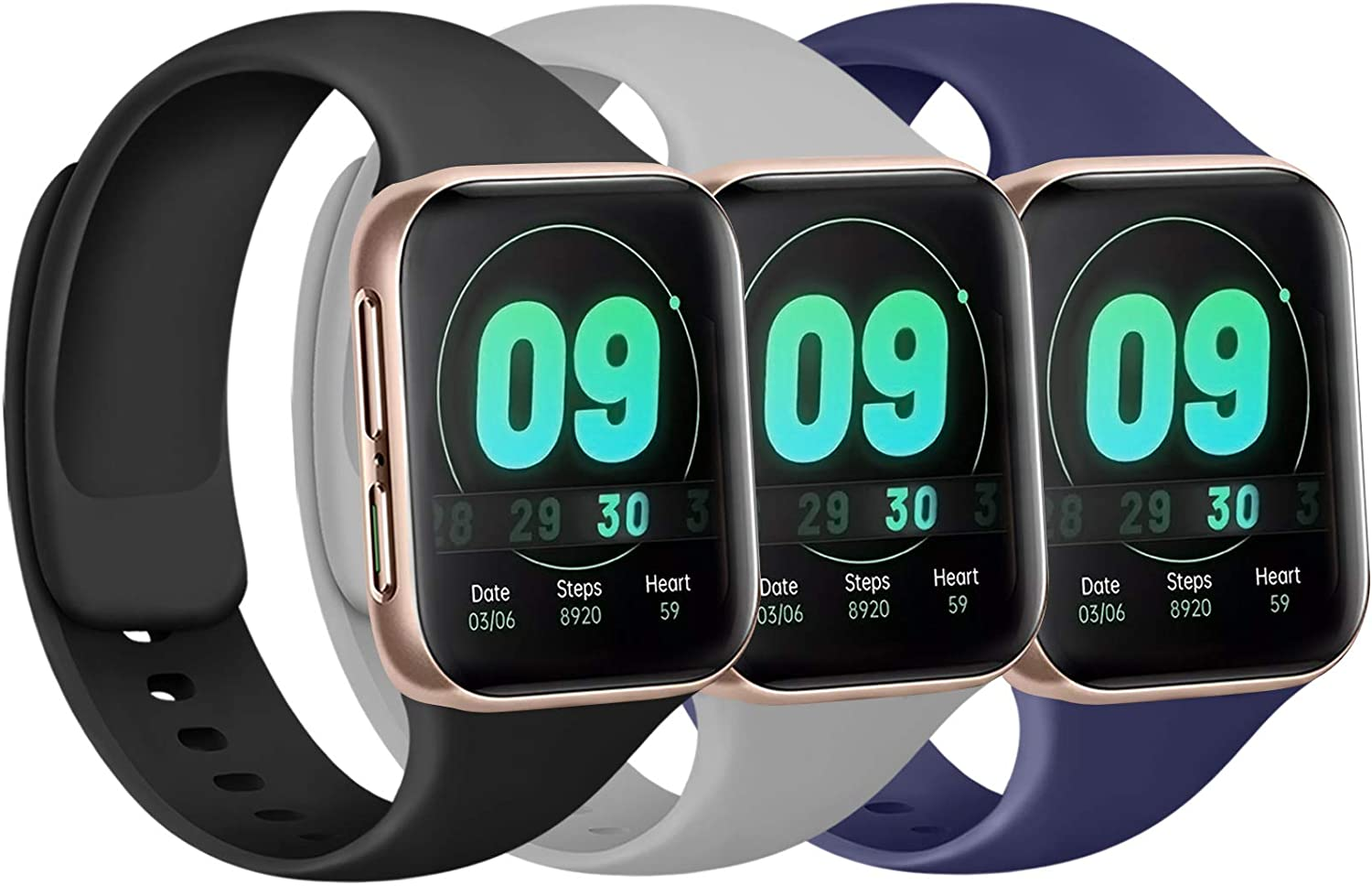 [3 Pack] Silicone Bands Compatible with Apple Watch Bands 38mm 40mm 42mm 44mm, Soft Wristbands Compatible with iWatch Bands (Black/Navy Blue/Gray, 38mm/40mm-S/M)