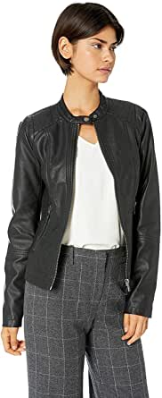 Sebby Collection Women's Faux Leather Jacket with Moto Details and Front Zip Pockets