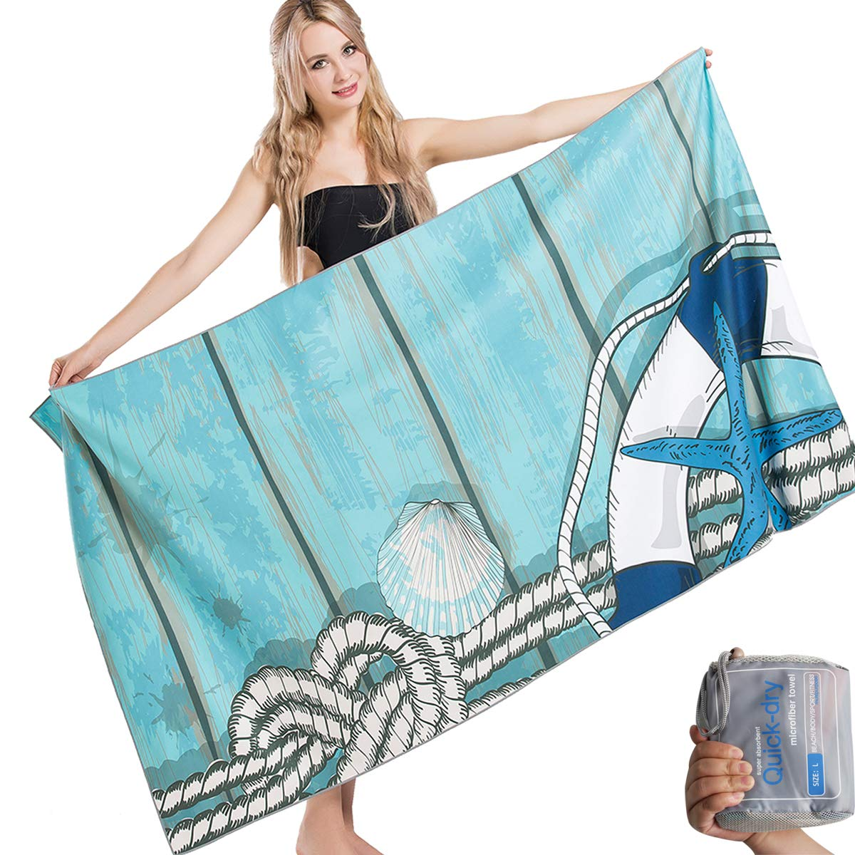 HAPEE Microfiber Beach Towels Overlarge XL 67x35in for Sports, Travel,Swim,Pool- Quick Dry Super Absorbent Lightweight by HAPEE
