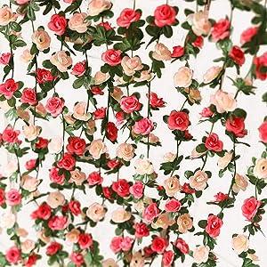 PARTY JOY Flower Garland Fake Rose Vine Artificial Flowers Hanging Rose Ivy Hanging Baskets Wedding Arch Garden Background Decor