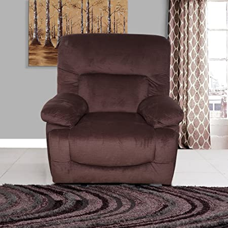 Evok Cardiff Fabric 1 Seater Recliner in Chocolate Colour